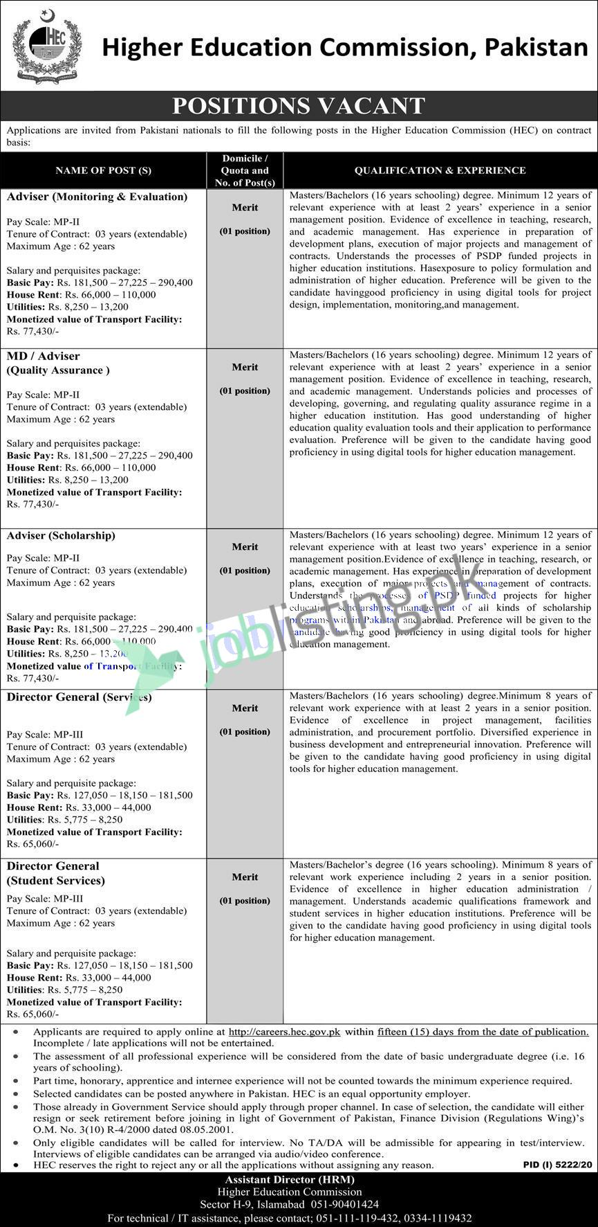 HEC Higher Education Commission Jobs 2021