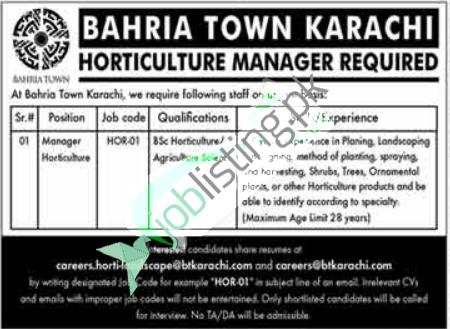 Manager Horticulture required in Bahria Town Karachi