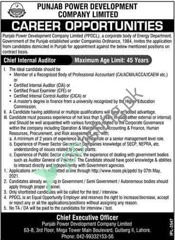 Chief Internal Auditor Jobs in - PPDCL Punjab Power Development Company Limited