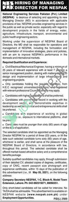 Managing Director Jobs in NESPAK National Engineering Services Pakistan (Pvt.) Limited