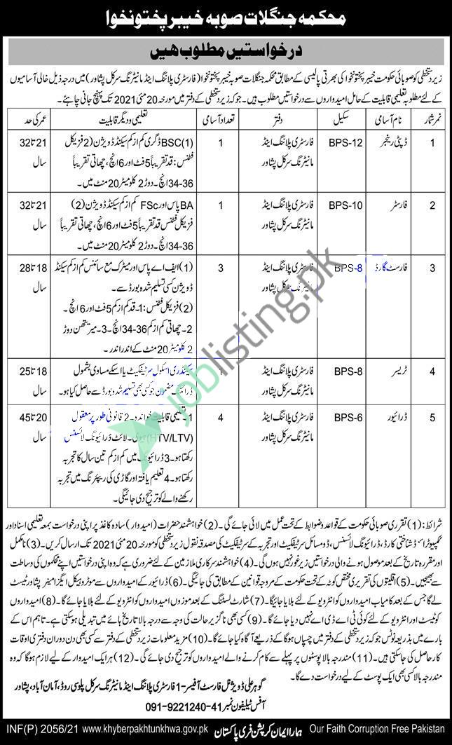 Situation Vacant in Forest Department Peshawar KPK Jobs 2021