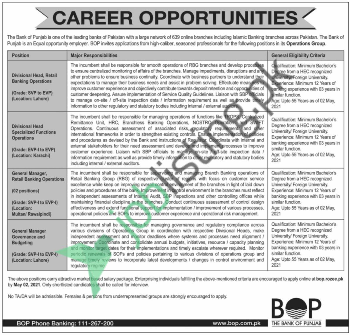 Jobs, Jobs in The Bank of Punjab (BOP)