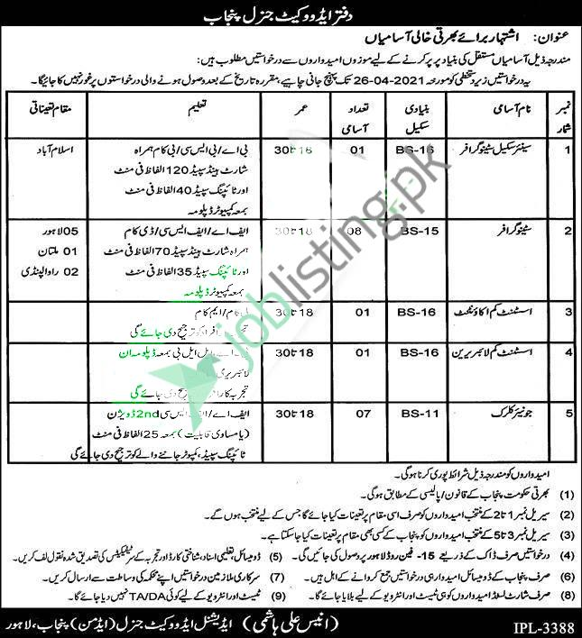 Situations Vacant in Advocate General Punjab Jobs 2021