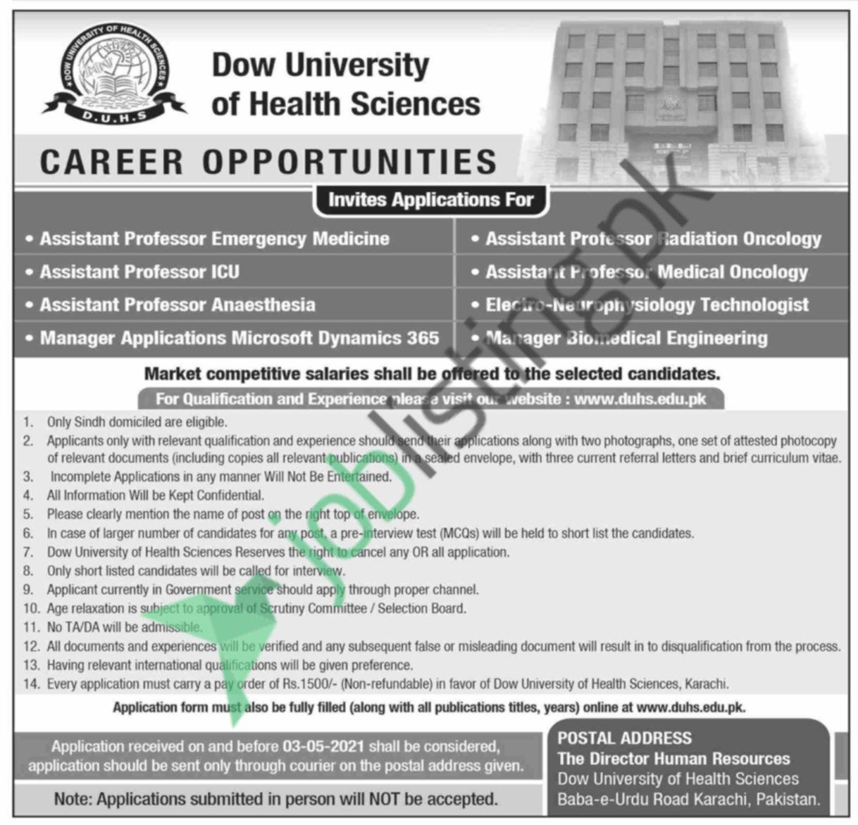Assistant Professor jobs in Dow University of Health Sciences 2021