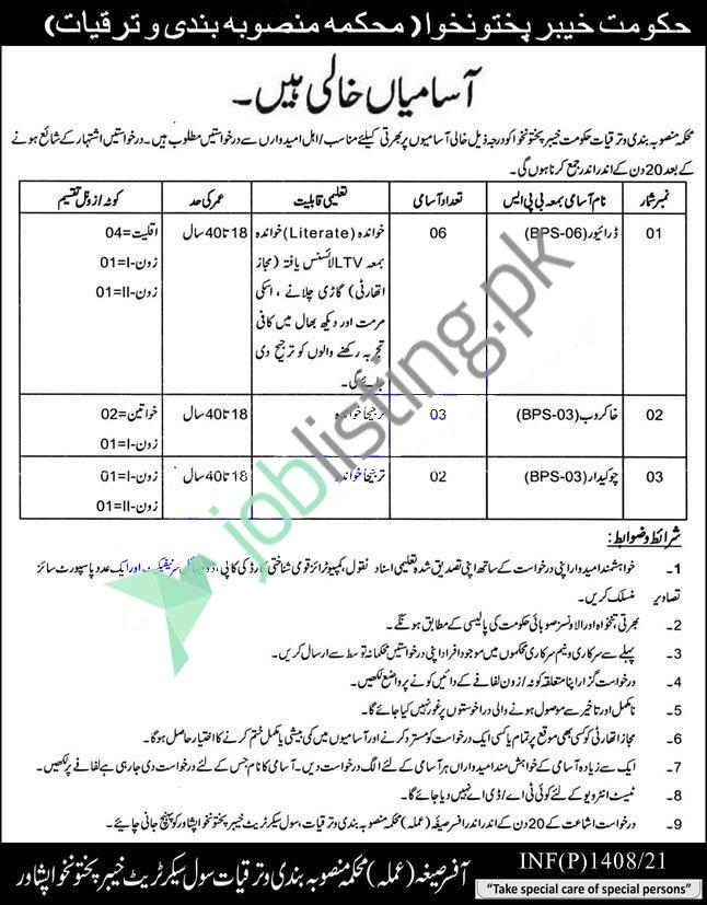 Planning & Development Department KPK Jobs 2021