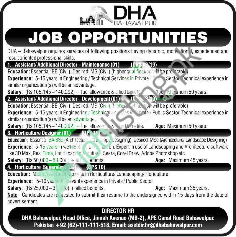 DHA Defence Housing Authority Bahawalpur Jobs 2021