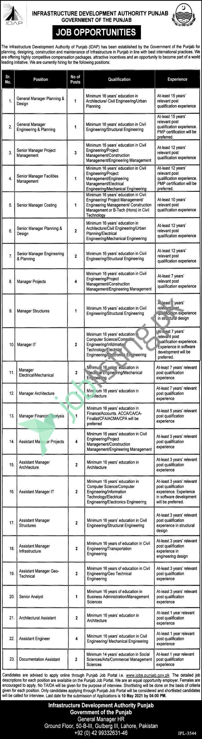 General Manager & Assistant Manager Jobs - Infrastructure Development Authority Punjab Jobs 2021
