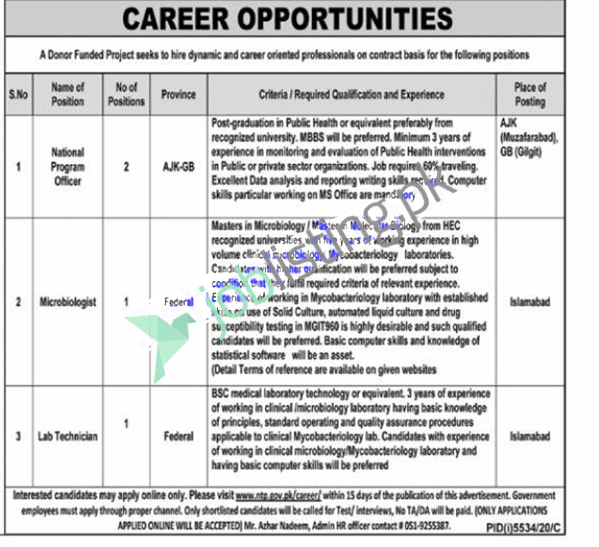 National Program Officer Position Vacant in National TB Control Program