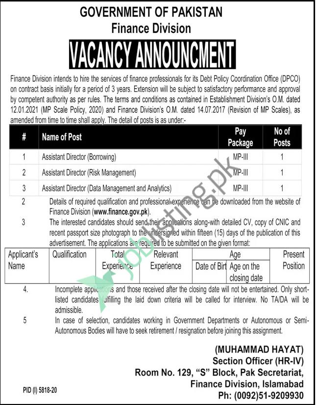 Assistant Director Jobs 2021 in Finance Division Islamabad