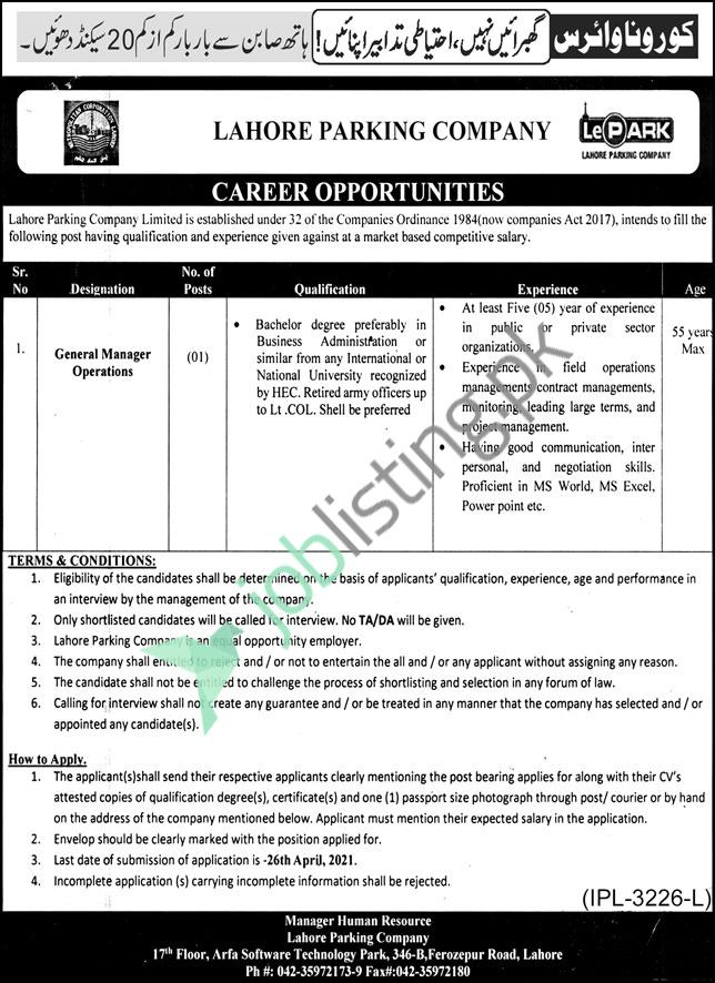 General Manager Operations Situation Vacant in Lahore Parking Company