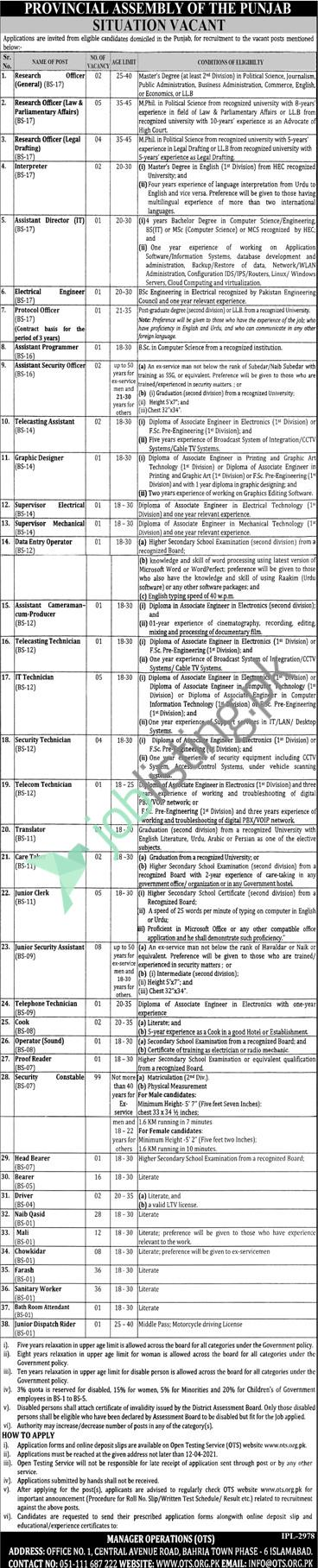 Provincial Assembly of Punjab Jobs 2021