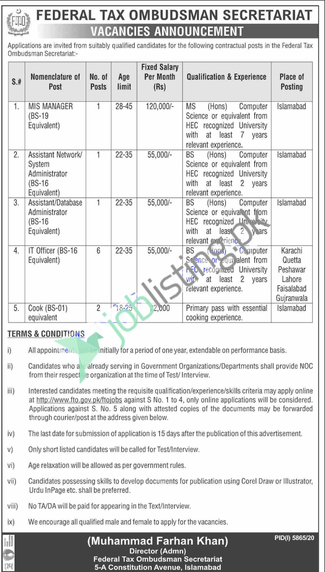 Situation Vacant in FTO Federal Tax Ombudsman Secretariat Jobs 2021