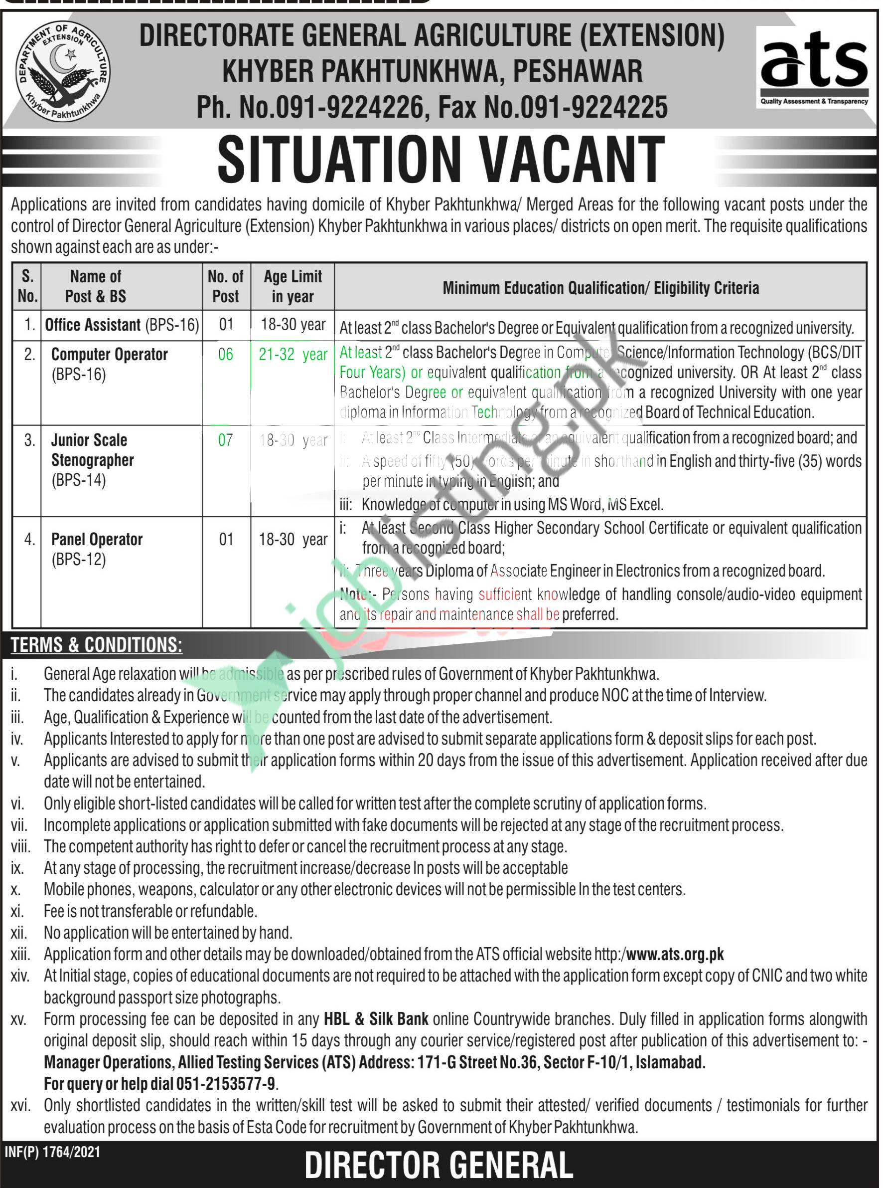 Situation Vacant - Agriculture Department KPK Jobs 2021