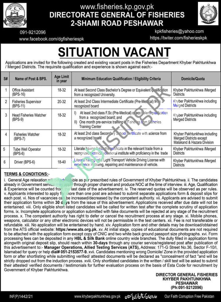 Fisheries Department KPK Jobs 2021