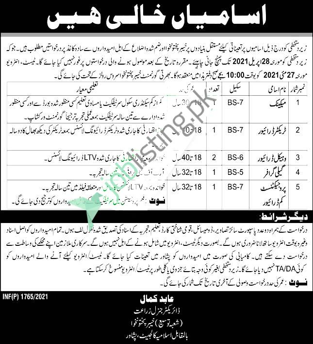 Positions Vacant in Agriculture Department KPK Jobs 2021