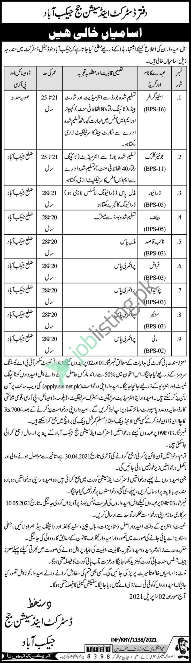 District and Session Court Jacobabad Jobs 2021