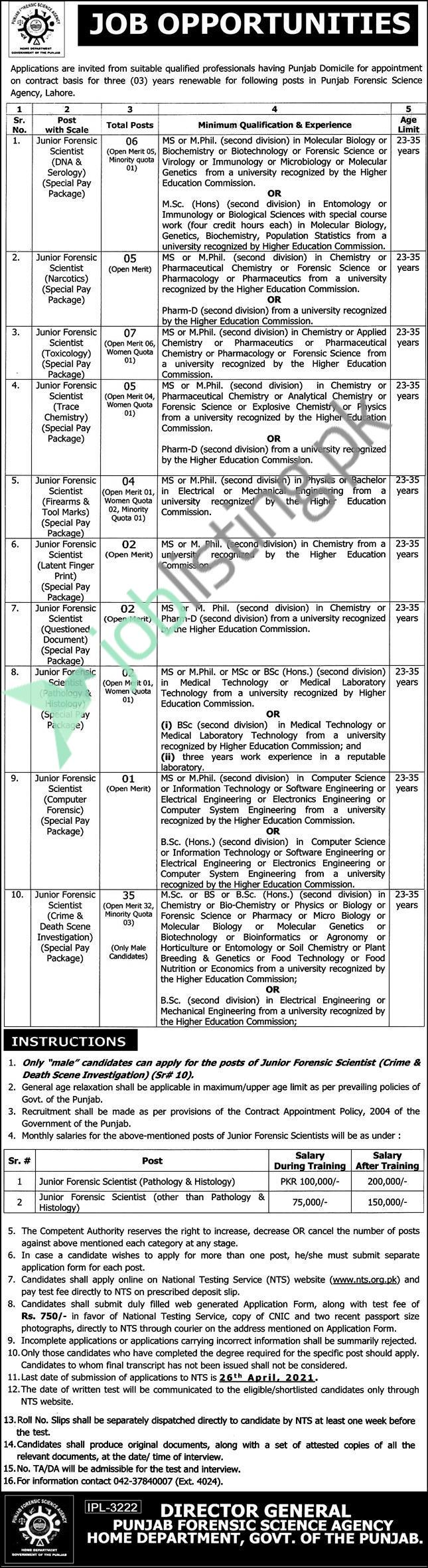Forensic Scientist Situation Vacant PFSA Punjab Forensic Science Agency