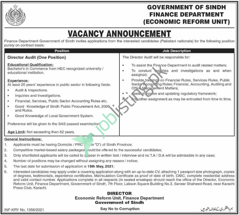 Director Audit Jobs - Finance Department Sindh