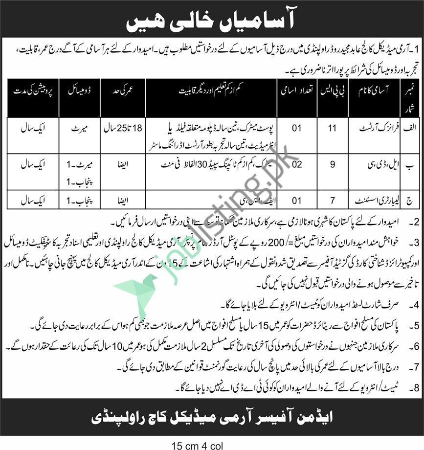 AMC Army Medical College Rawalpindi Jobs 2021