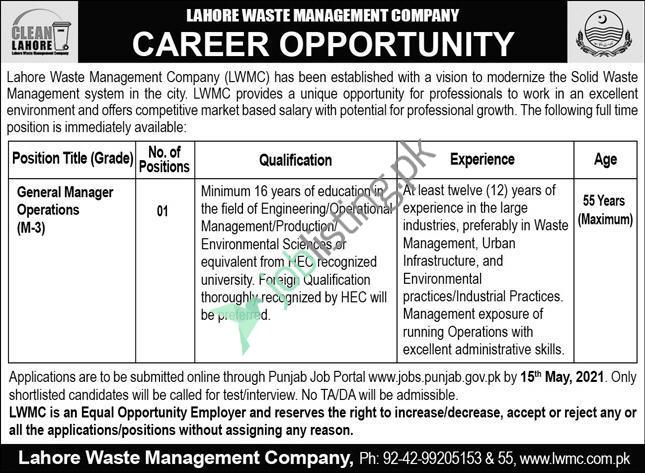General Manager Operations Jobs 2021 Lahore Waste Management Company