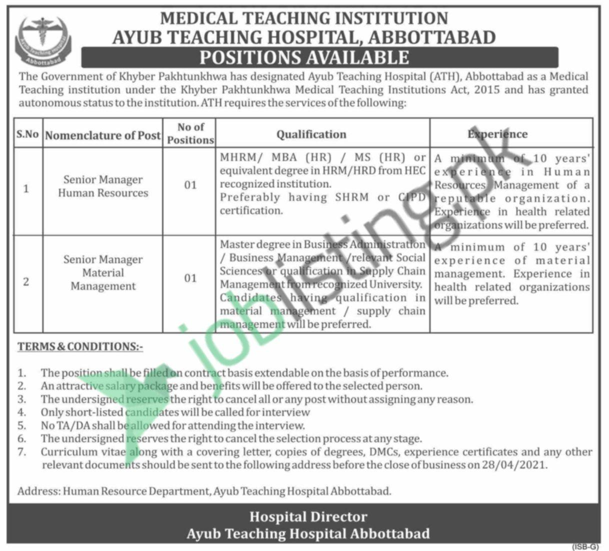 Senior Manager Human Resources Jobs in Ayub Medical College