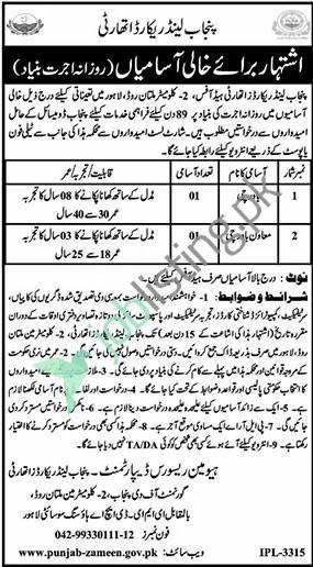 Positions Vacant in PLRA Punjab Land Record Authority