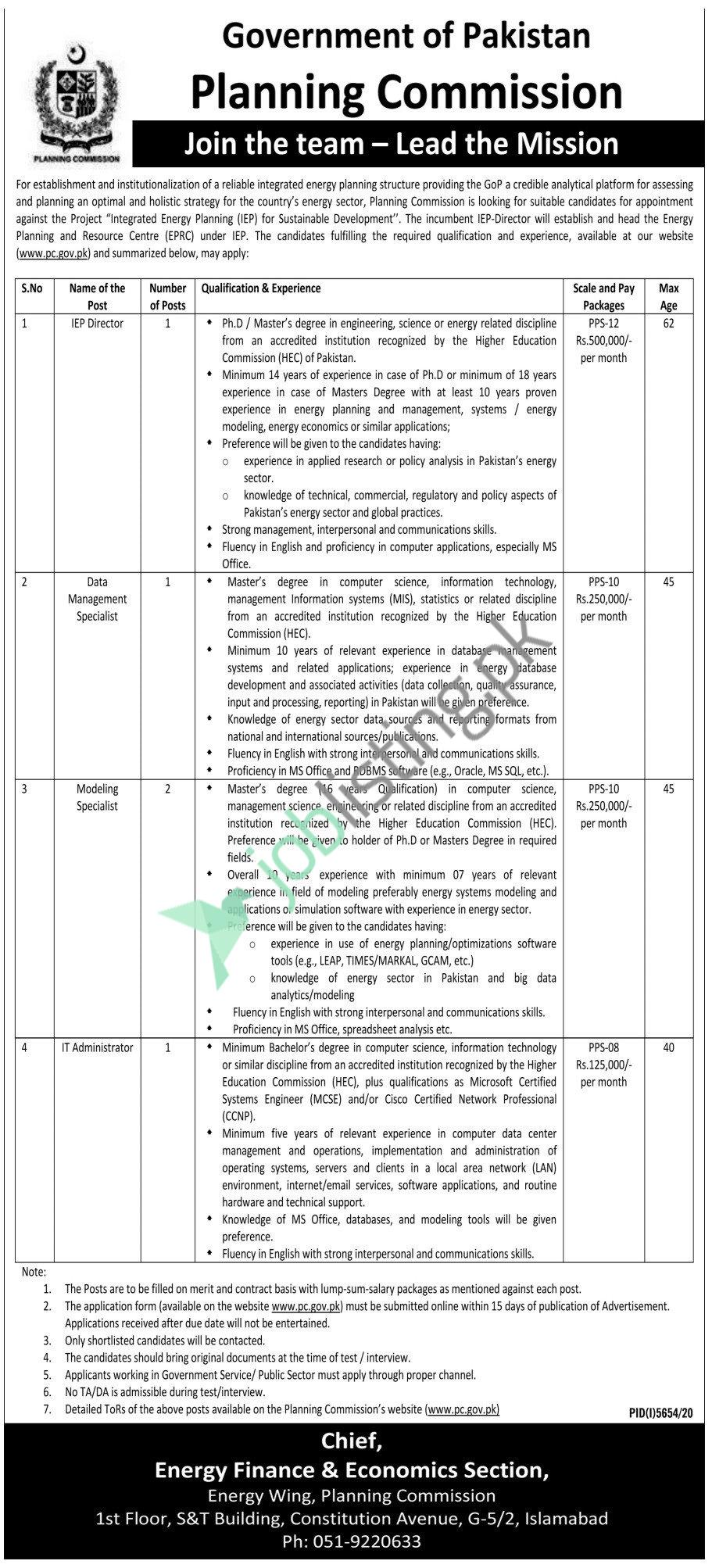Planning Commission of Pakistan Jobs 2021 Government of Pakistan Advertisement