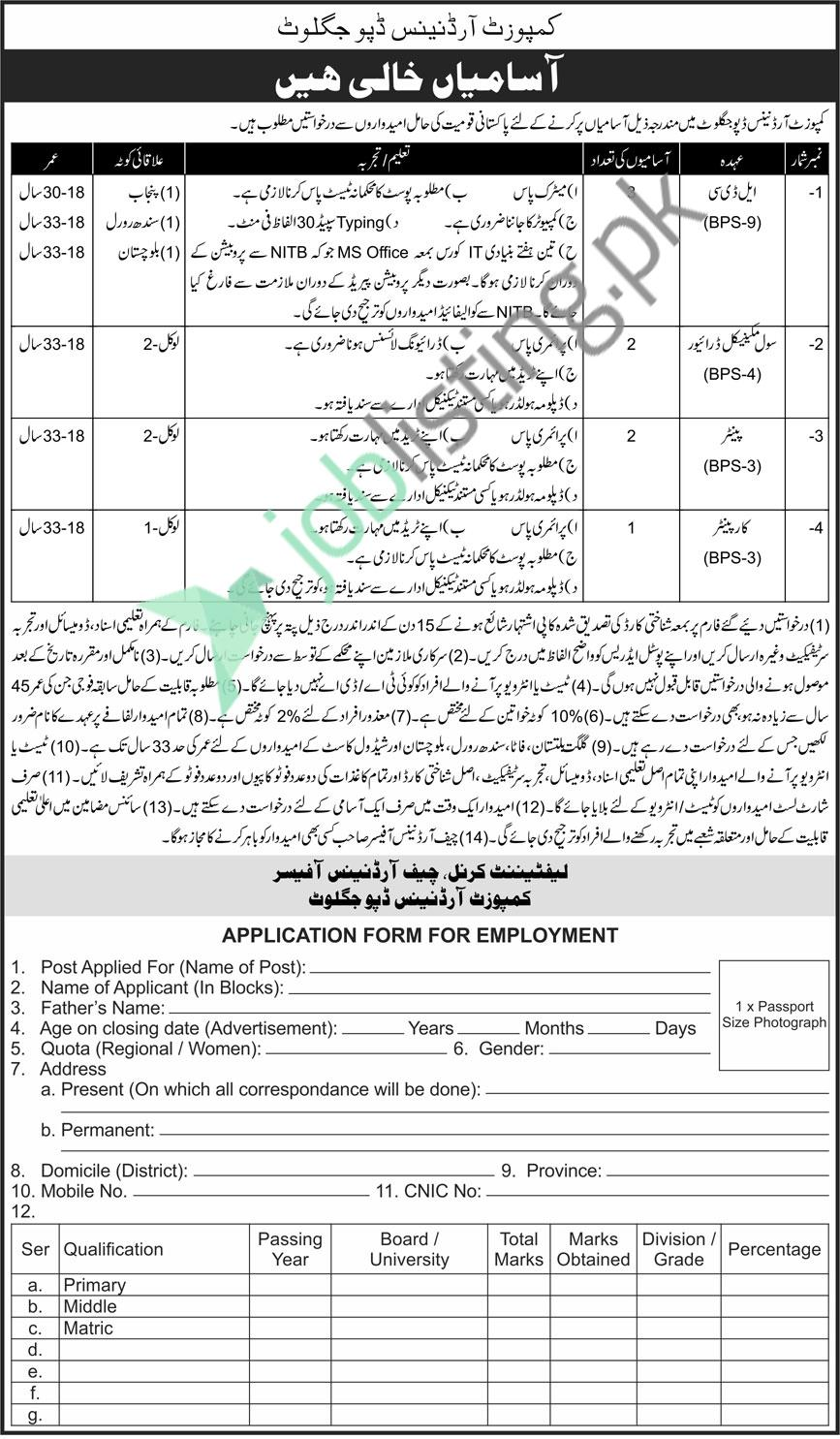 Situation Vacant in Pak Army 2021 at Composite Ordnance Depot Jaglot Gilgit Baltistan