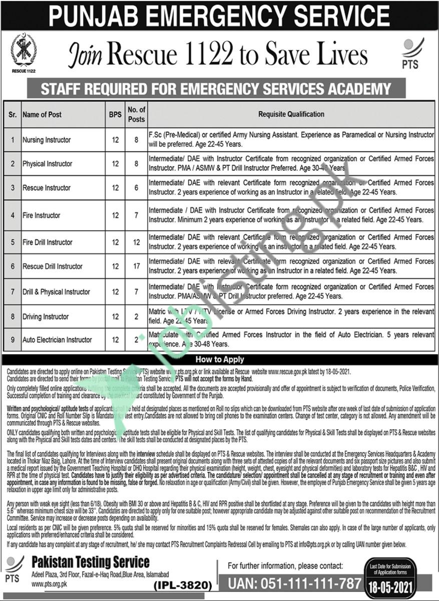 Staff Required for Emergency Services Academy - Rescue 1122