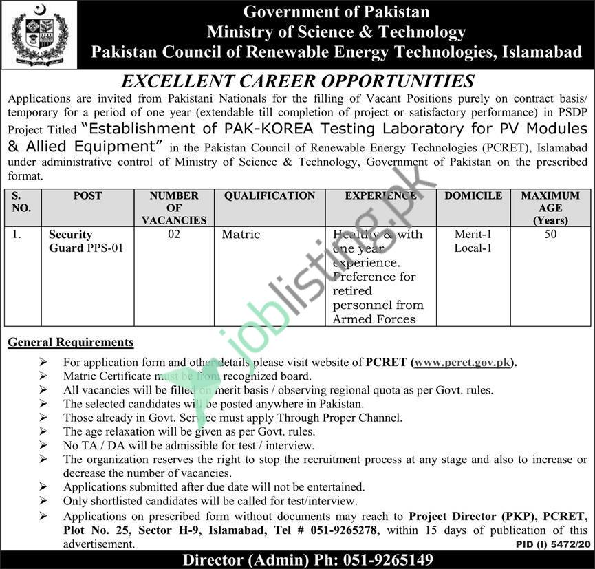 PCRET Pakistan Council of Renewable Energy Technologies Islamabad Jobs 2021