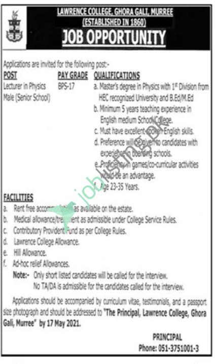Lecturer in Physics Jobs Lawrence College Ghora Gali Murree Jobs 2021