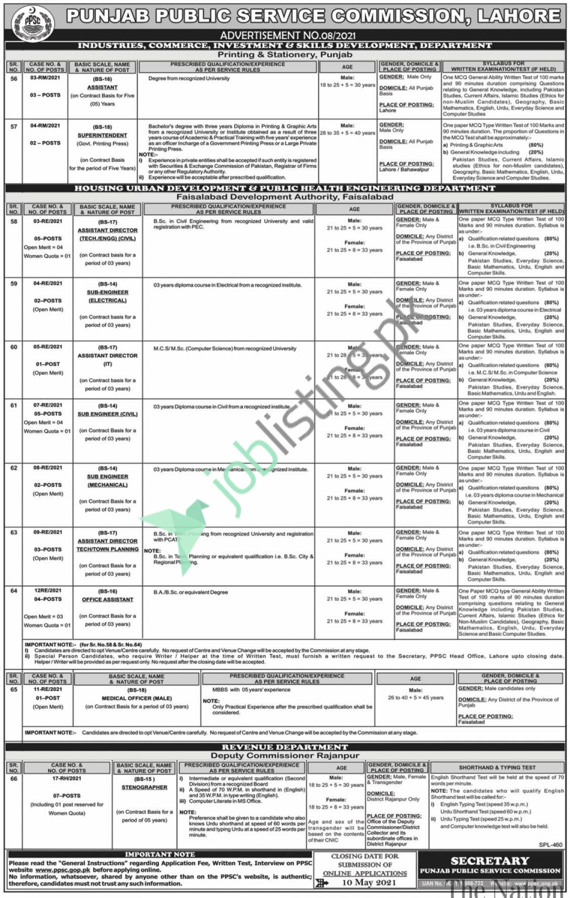 Situations Vacant - PPSC Punjab Public Service Commission - Old Test Paper & Syllabus Pattern