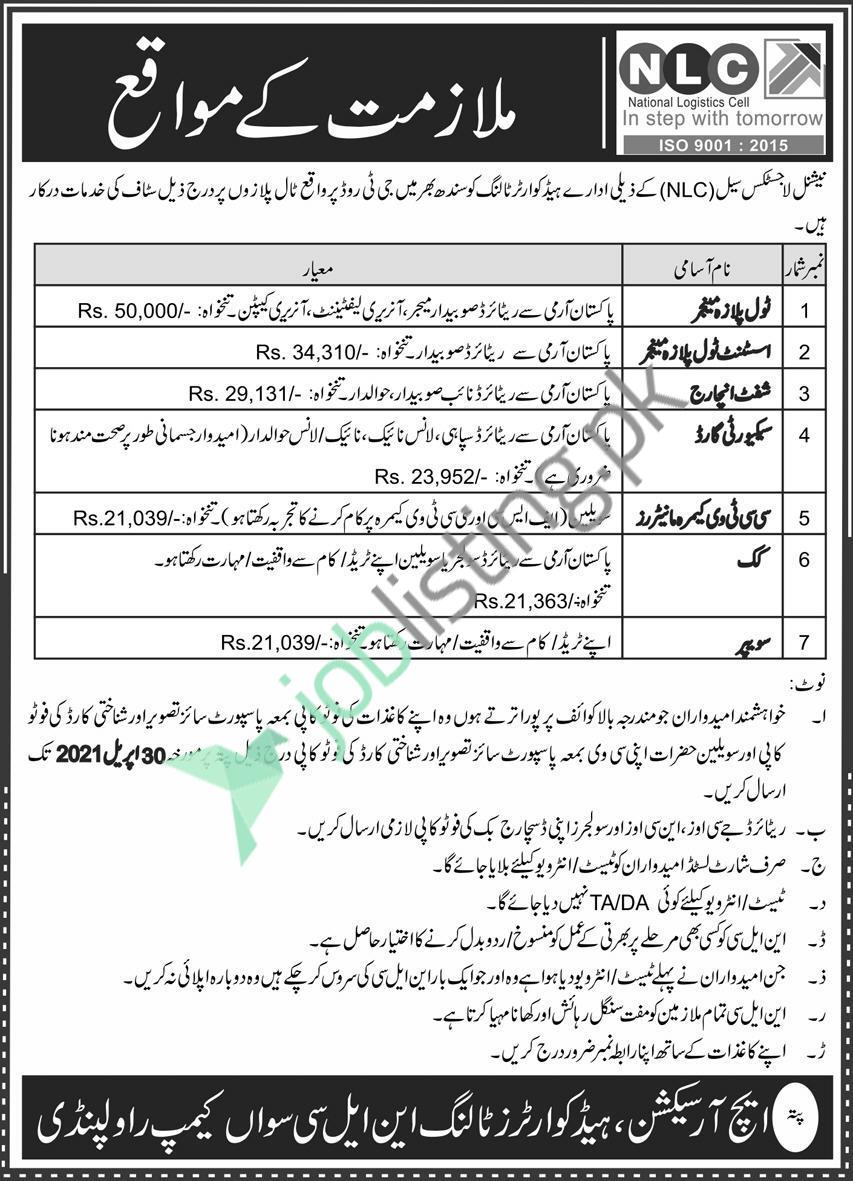 Situations Vacant in NLC National Logistic Cell Toll Plazas (Sindh)