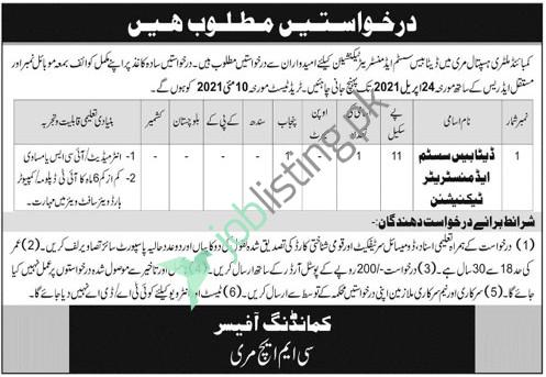 Database System Administrator Technician Jobs in CMH Combined Military Hospital Murree