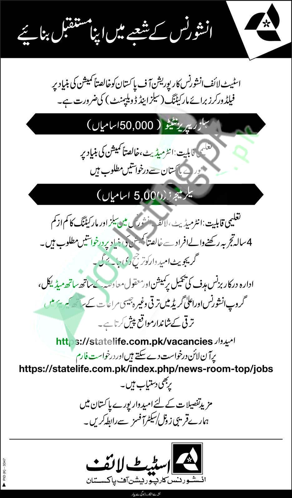 Multiple Positions Vacant in State Life Insurance Corporation of Pakistan