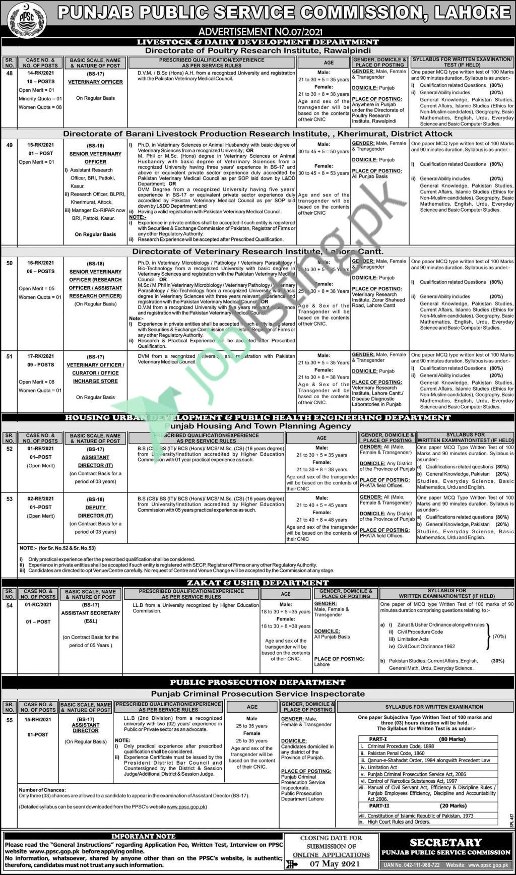 Situations Vacant - PPSC Punjab Public Service Commission - Test Syllabus & Old Sample Paper