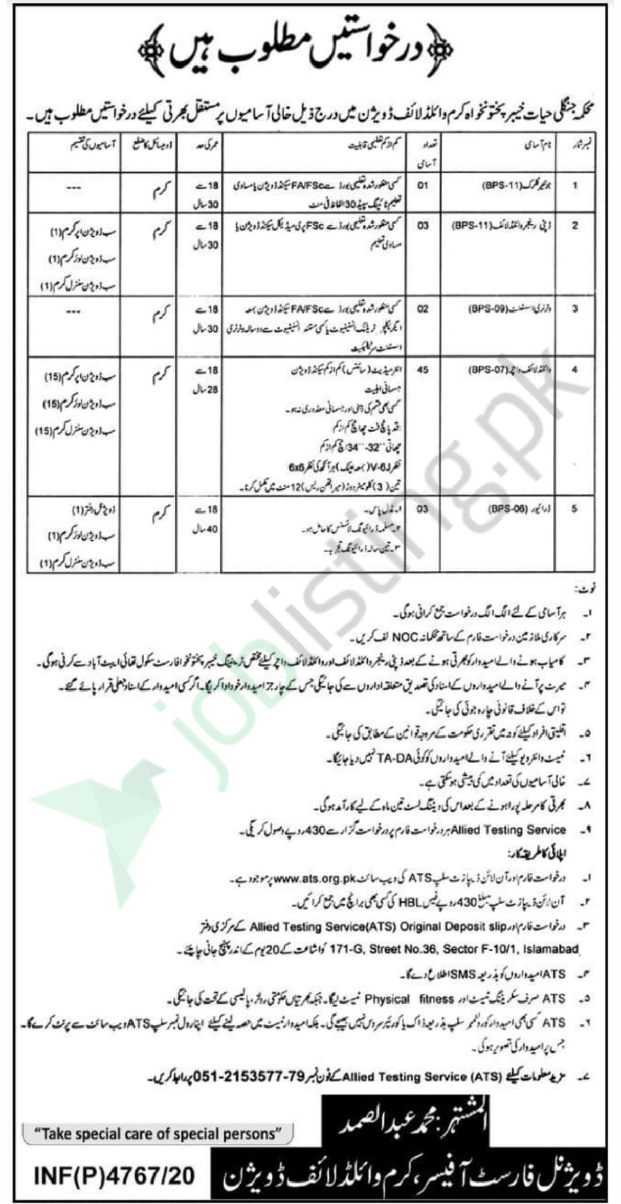 Wildlife Division Kurram Govt of KPK jobs