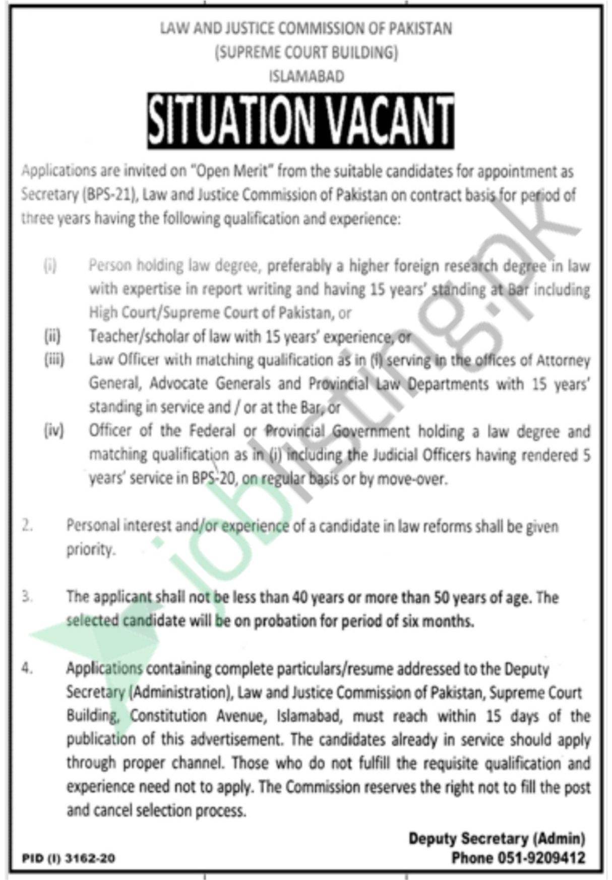 Secretary (BPS-21) Job in Law and Justice Commission of Pakistan 2020
