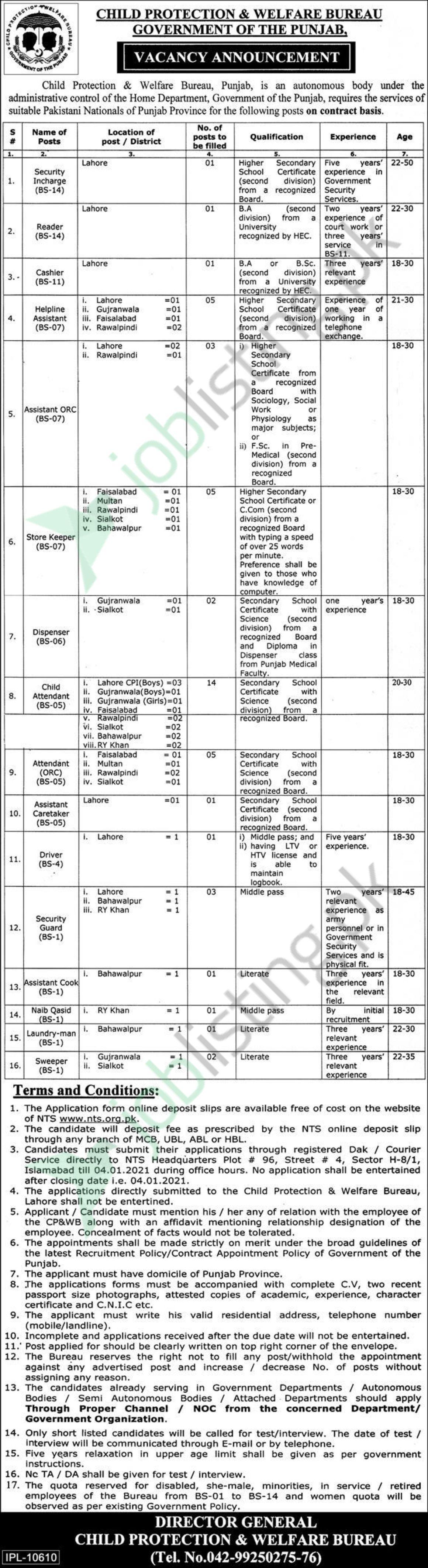 Child Protection and Welfare Bureau Jobs 2021| NTS