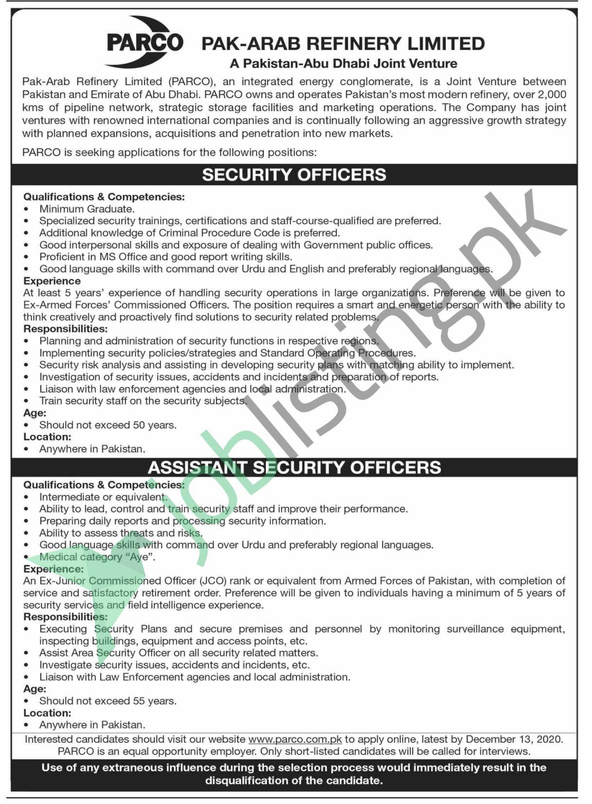 PARCO Pakistan Jobs 2020 for Security Officers