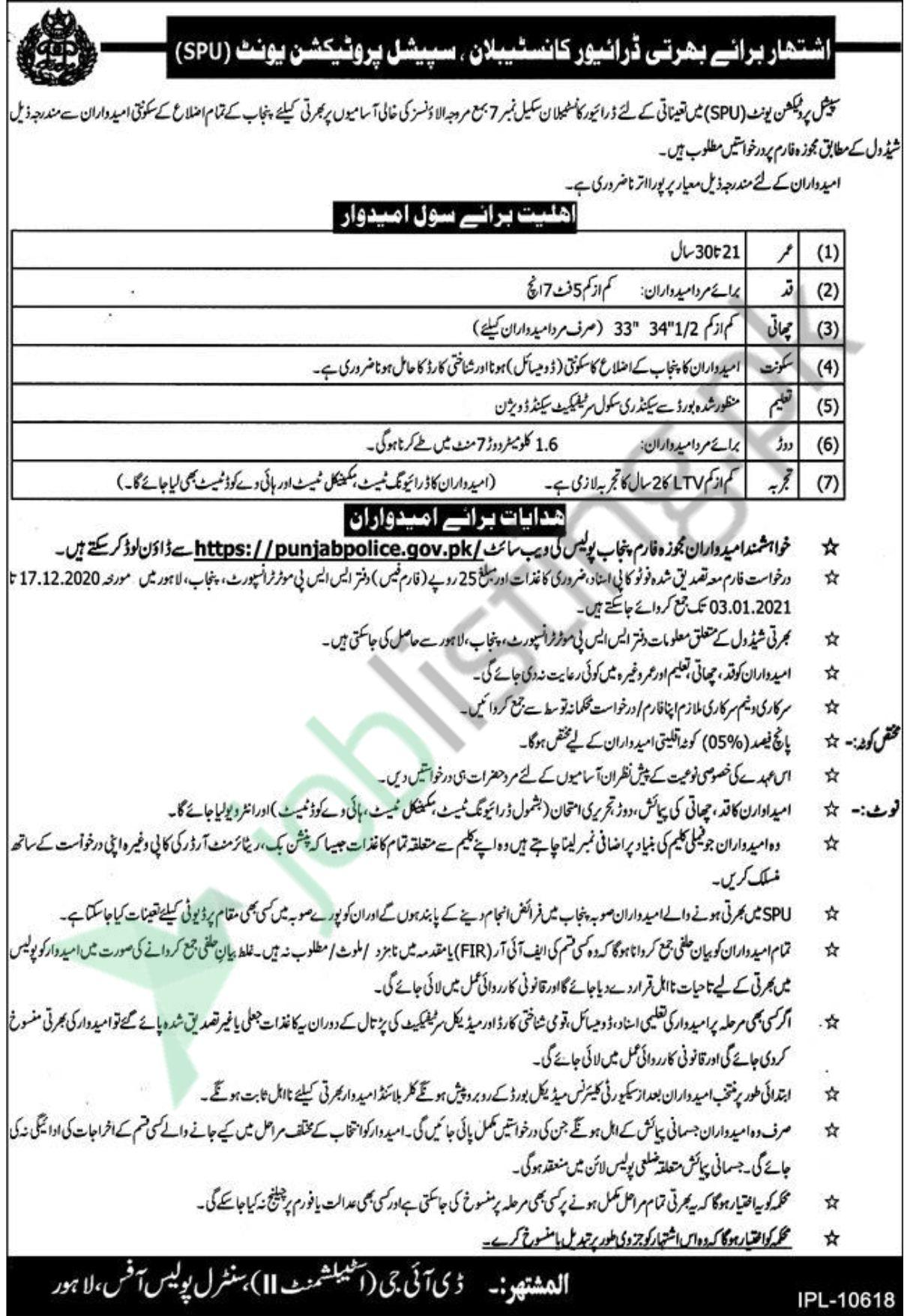 Driver Vacancies Available in Punjab Police Special Protection Unit (SPU)