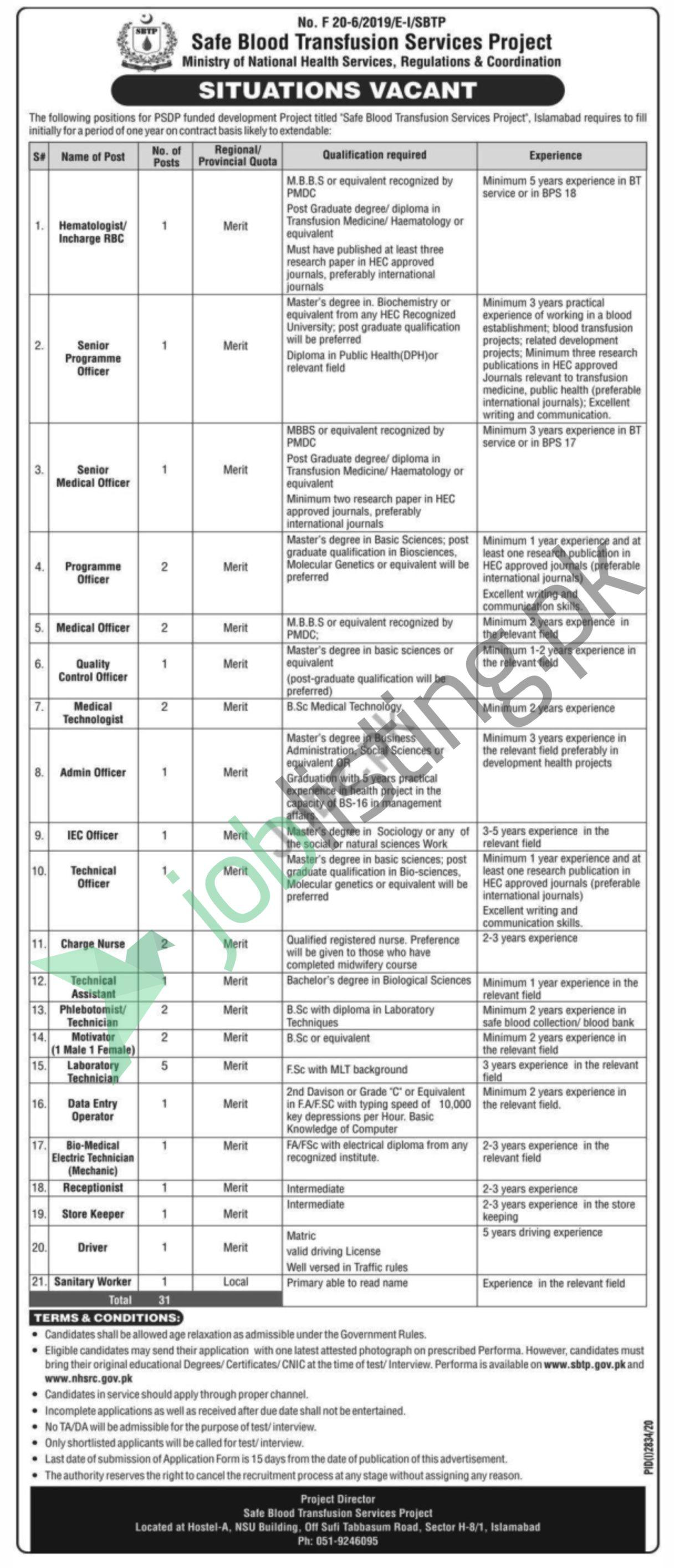 Safe Blood Transfusion Services Project Jobs