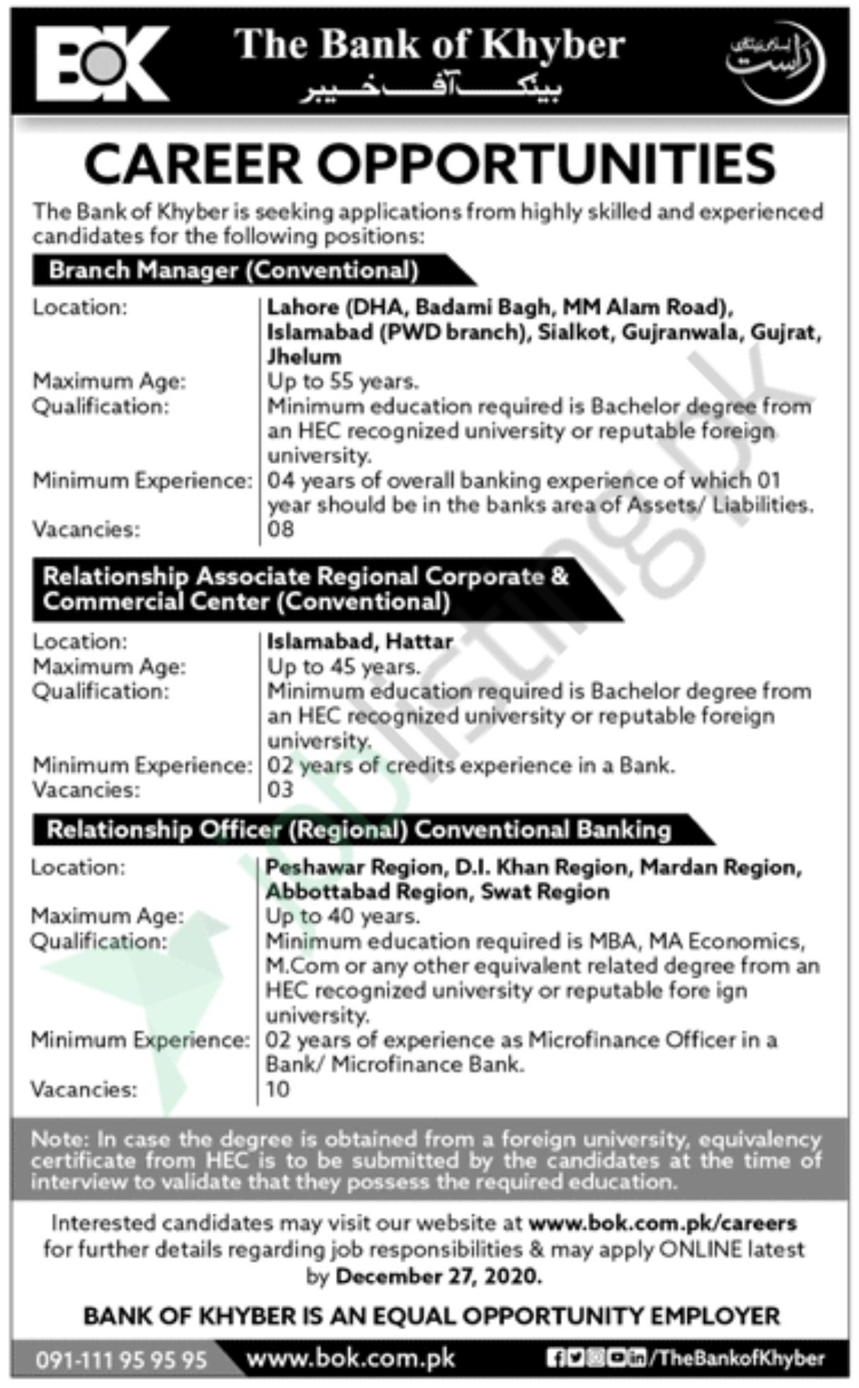 Branch Manager | Bank of Khyber Jobs 2020