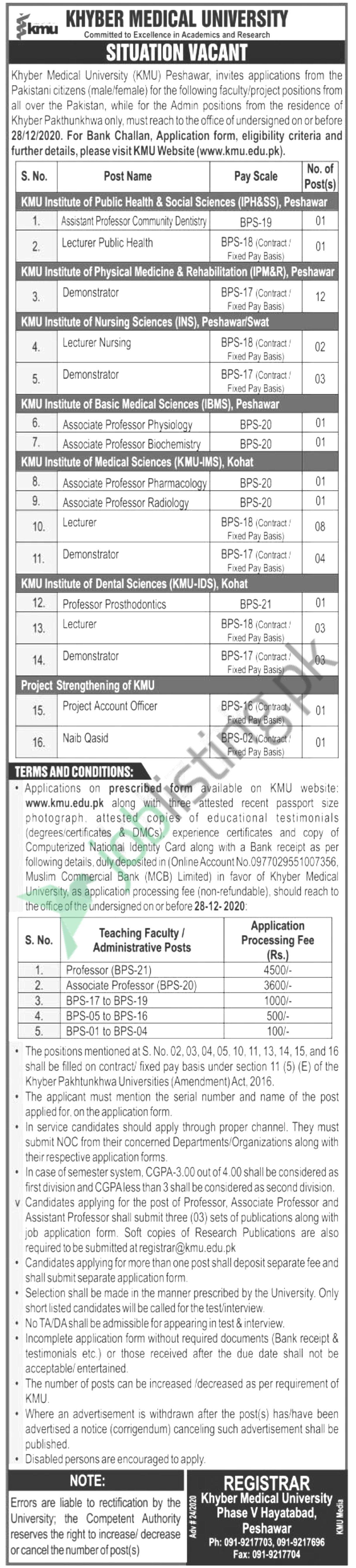 Khyber Medical University (KMU) Jobs 2020