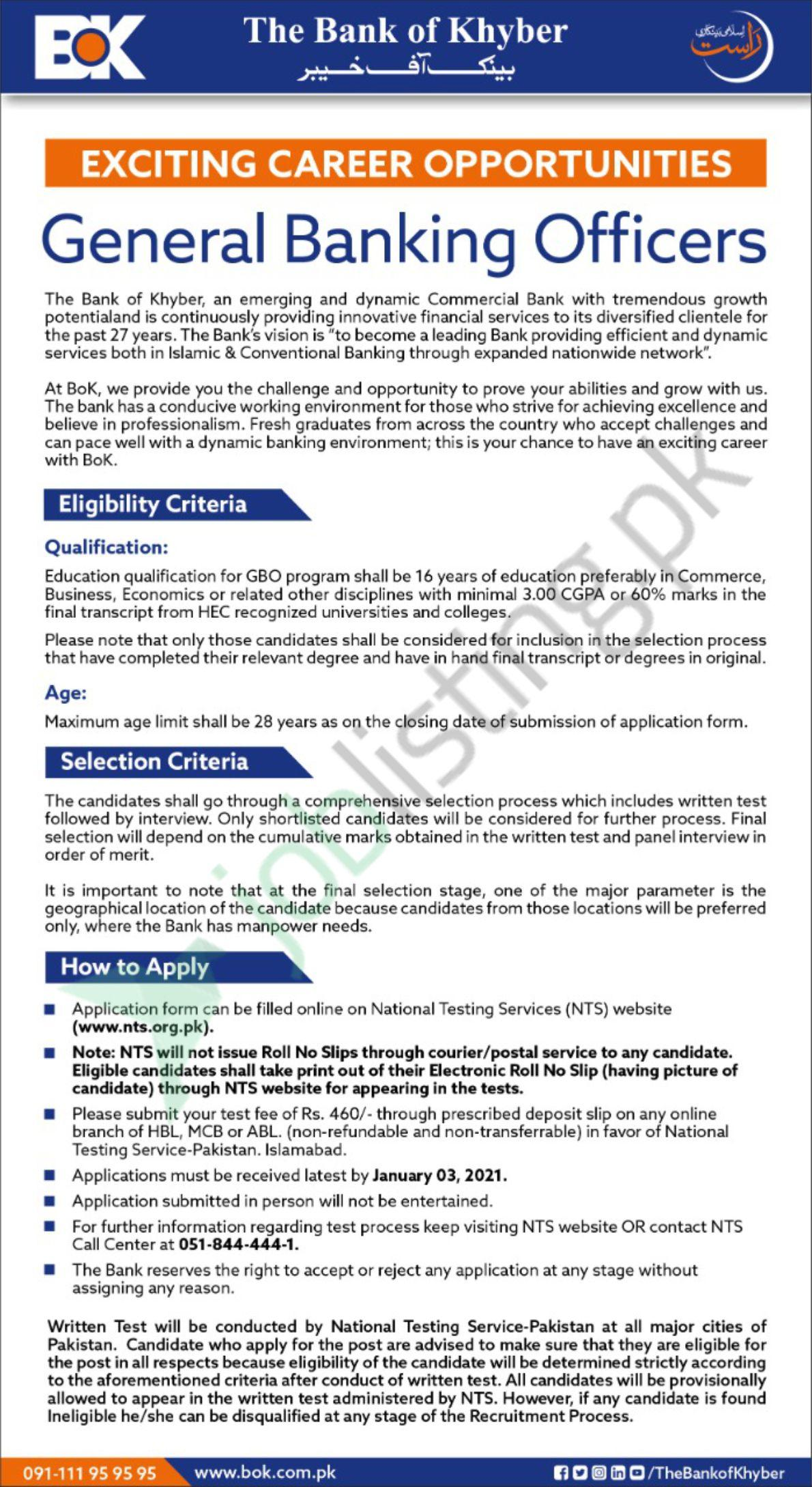Exciting Career Opportunities in Bank of Khyber