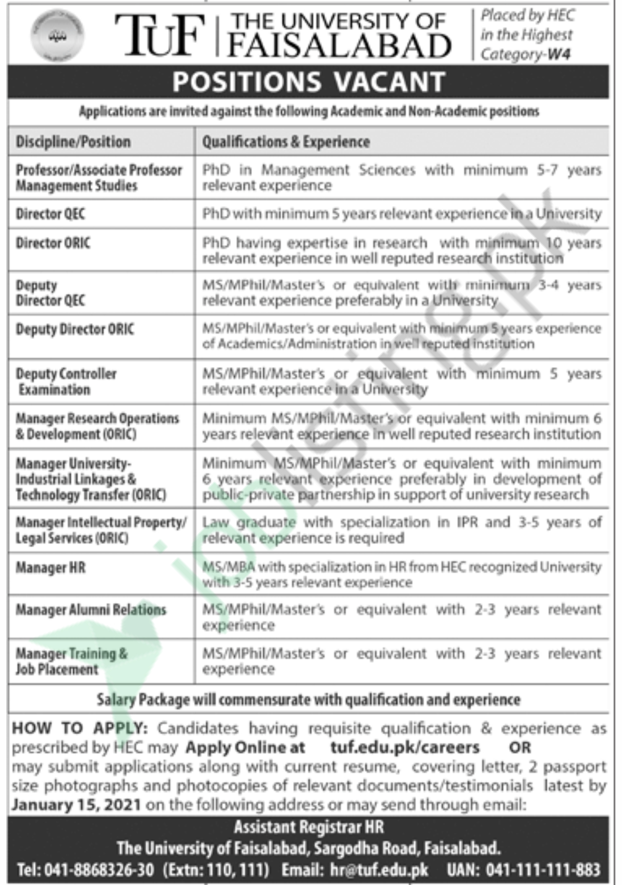 The University of Faisalabad UAF jobs 2021