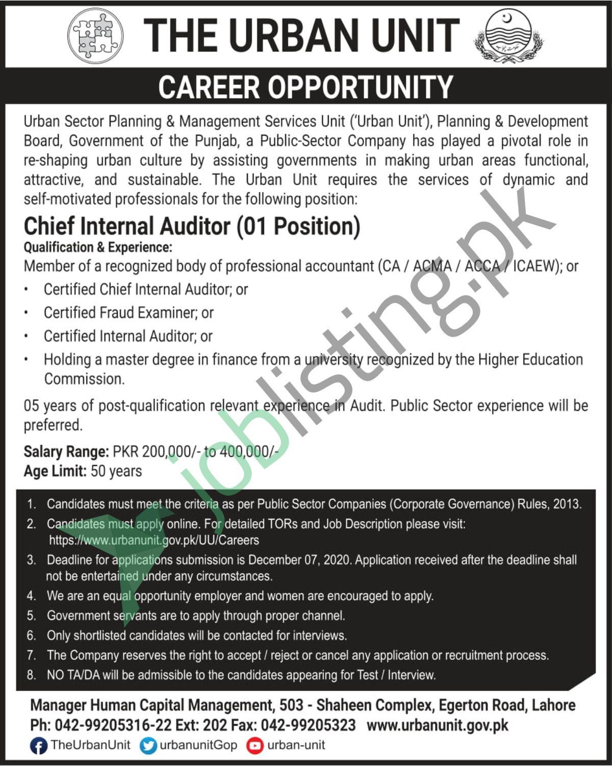The Urban Unit CHIEF INTERNAL AUDITOR Job in Lahore