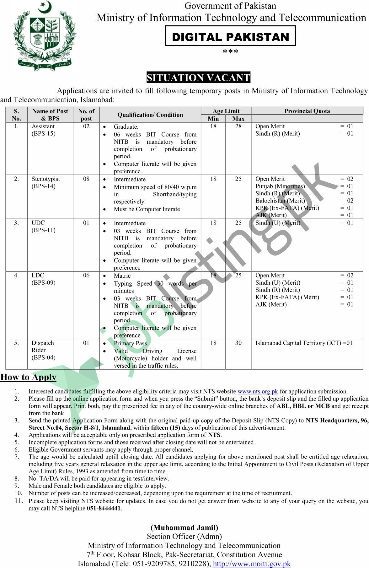 Ministry of Information Technology & Telecommunication Jobs Dec 2020