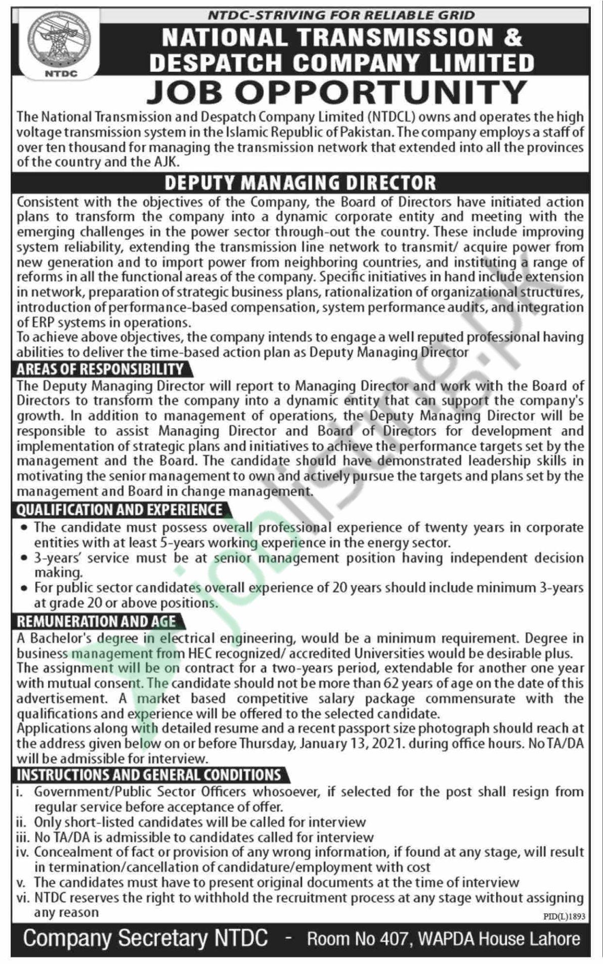 NTDC Jobs 2020 Advertisement