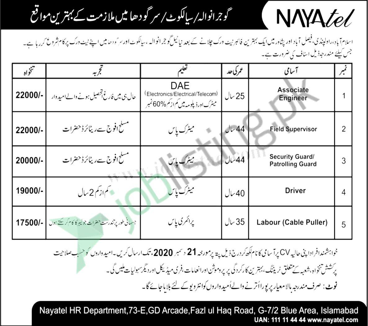 Nayatel Private Limited Jobs 2020 in Pakistan